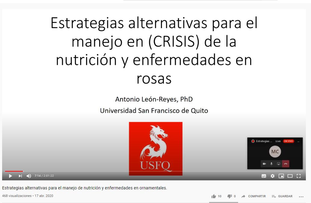 Estrategias alternativas para el manejo de nutrición y enfermedades en ornamentales. Impartida